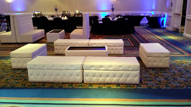 Lounge Furniture   Create A Fun And Upscale Look To Any Party With Our  White Leather Couches, Low Cocktail Tables, Rugs, Throw Pillows, And/or LED  Cocktail ...